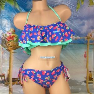 Cute Flounce Two piece floral bikini swim set